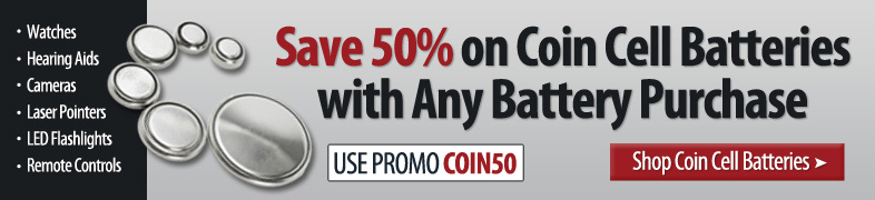 50% off Coin Cell Batteries With Any Battery Purchase